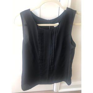 Black sleeveless silk blouse